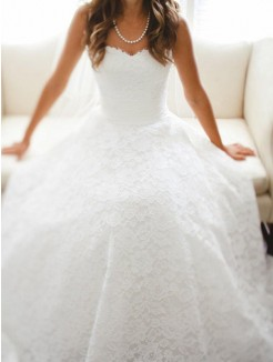 A-Line/Princess Sleeveless Sweetheart Cathedral Train Lace Wedding Dresses