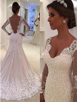 Trumpet/Mermaid Long Sleeves V-neck Court Train Lace Wedding Dresses