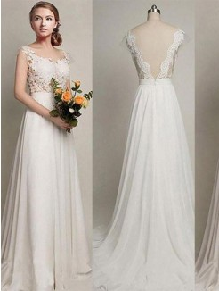 A-Line/Princess Scoop Sweep/Brush Train Lace Sleeveless Chiffon Wedding Dresses