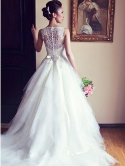 A-Line/Princess Scoop Chapel Train Sash/Ribbon/Belt Beading Applique Sleeveless Lace Tulle Wedding Dresses