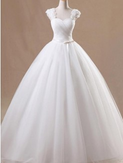Ball Gown Sleeveless Square Floor-Length Tulle Ruffles Wedding Dresses