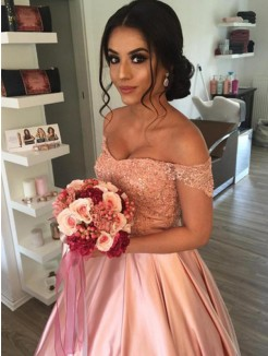 Ball Gown Sleeveless Satin Ruffles Cathedral Off-the-Shoulder Train Wedding Dresses