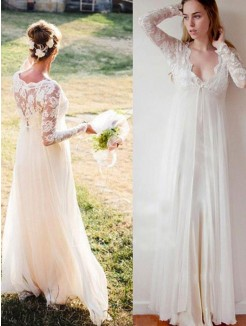Empire V-neck Lace Chiffon Floor-Length Long Sleeves Wedding Dresses