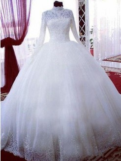 Ball Gown Tulle High Neck Lace Long Sleeves Chapel Train Wedding Dresses