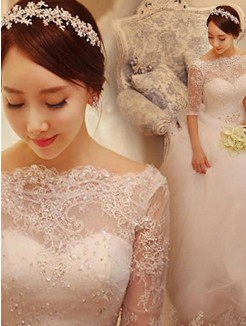 Ball Gown Beading Train 1/2 Sleeves Tulle Off-the-Shoulder Chapel Wedding Dresses
