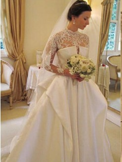 Ball Gown Satin igh Neck Long Sleeves Chapel Lace HTrain Wedding Dresses