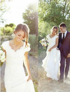 A-Line/Princess Tulle Sleeveless Lace V-neck Sweep/Brush Train Wedding Dresses