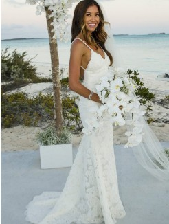 Trumpet/Mermaid Lace Sleeveless Spaghetti Straps Sweep/Brush Train Wedding Dresses