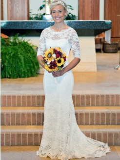 Sheath/Column Ruched Scoop Lace 1/2 Sleeves Sweep/Brush Train Wedding Dresses