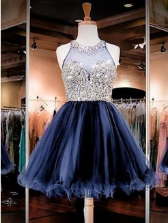 A-Line/Princess Sleeveless Tulle Beading Short/Mini Dress
