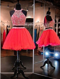 A-Line/Princess Sleeveless Tulle Beading Short/Mini Two Piece Dress
