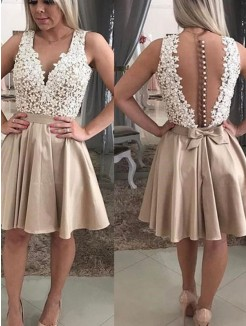 A-Line/Princess Sleeveless Beading V-neck Satin Short/Mini Dress