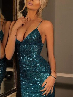Sheath/Column Spaghetti Straps V-neck Sequin Short/Mini Dress