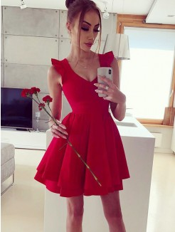 A-Line/Princess V-neck Satin Ruffles Sleeveless Short/Mini Dress