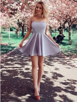 A-Line/Princess Ruffles Strapless Satin Sleeveless Short/Mini Dress