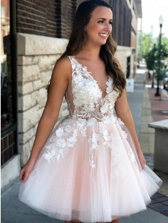 A-Line Sleeveless V-neck Tulle With Applique Short/Mini Dress