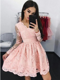 A-Line Lace Long Sleeves With Applique V-neck Short/Mini Dress