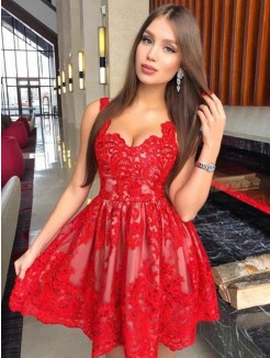 A-Line/Princess Sleeveless Straps Lace Applique Short/Mini Dress