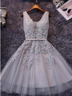 A-Line/Princess Sleeveless Straps Tulle Applique Short/Mini Dress