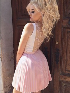 A-Line/Princess Satin Pleats V-neck Sleeveless Short/Mini Dress
