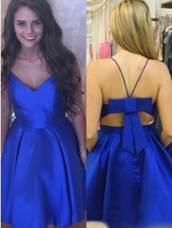 A-Line/Princess Satin Bowknot Straps Sleeveless Short/Mini Dress