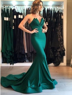 Trumpet/Mermaid Sleeveless V-neck Court Train Satin Dresses