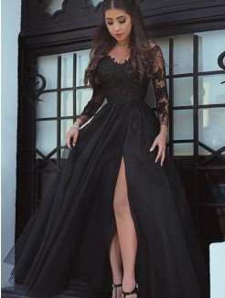 Ball Gown Long Sleeves Off-the-Shoulder Floor-Length Lace Dresses