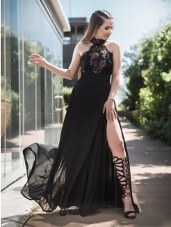 A-Line/Princess Floor-Length Sleeveless Lace Tulle Dresses