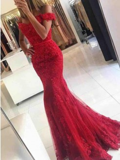 Trumpet/Mermaid Sleeveless Off-the-Shoulder Sweep/Brush Train Tulle Dresses