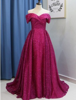 Ball Gown Off-the-Shoulder Sweep/Brush Train Sleeveless Ruffles Sequins Dresses
