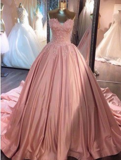 Ball Gown Sleeveless Sweetheart Court Train Lace Satin Dresses