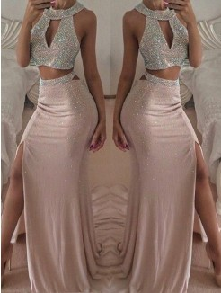 Trumpet/Mermaid Floor-Length Sleeveless Beading Chiffon Two Piece Dresses