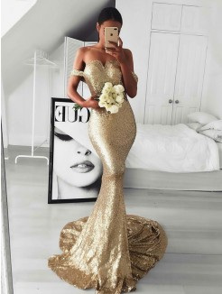 Trumpet/Mermaid Off-the-Shoulder Sleeveless Sequins Sweep/Brush Train Ruffles Dresses