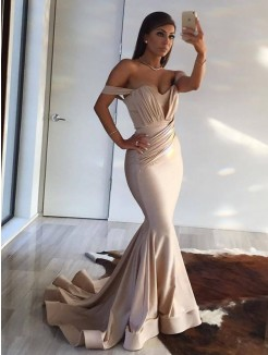 Trumpet/Mermaid Off-the-Shoulder Sweep/Brush Train Sleeveless Ruffles Spandex Dresses