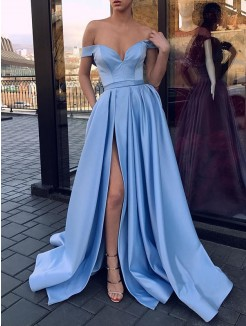 A-Line/Princess Off-the-Shoulder Sweep/Brush Train Sleeveless Ruffles Satin Dresses