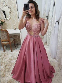 A-Line/Princess Floor-Length Sleeveless Scoop Applique Satin Dresses
