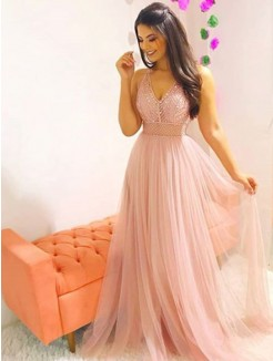 A-Line/Princess Sweep/Brush Train Sleeveless V-neck Crystal Tulle Dresses