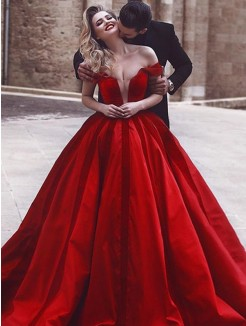 Ball Gown Off-the-Shoulder Sleeveless Ruffles Sweep/Brush Train Satin Dresses