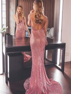 Trumpet/Mermaid Sleeveless Sequins V-neck Sweep/Brush Train Ruffles Dresses