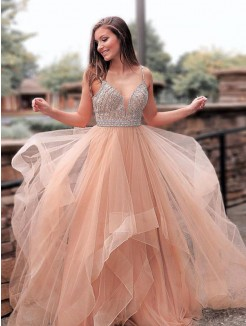 A-Line/Princess Sleeveless Straps Sweep/Brush Train Beading Tulle Dresses