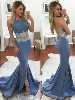 Trumpet/Mermaid Sweep/Brush Train Sleeveless Elastic Woven Satin Two Piece Dresses