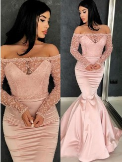 Trumpet/Mermaid Long Sleeves Off-the-Shoulder Sweep/Brush Train Satin Dresses