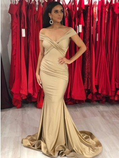 Trumpet/Mermaid Off-the-Shoulder Sweep/Brush Train Sleeveless Ruffles Satin Dresses