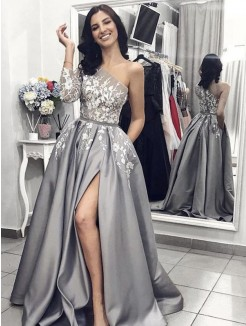 A-Line/Princess Sweep/Brush Train Sleeveless Applique Satin Dress