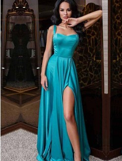 A-Line/Princess Sleeveless Sweep/Brush Train Elastic Woven Satin Dress