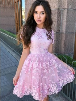 A-Line/Princess Organza Applique Sheer Neck Sleeveless Short/Mini Dresses