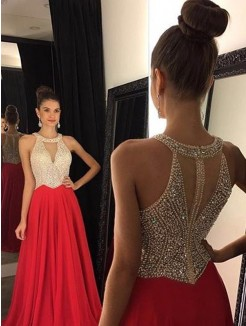 A-Line Sleeveless Halter Beading Sweep/Brush Train Chiffon Gown