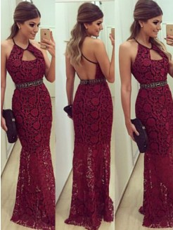 Sheath Sleeveless Beading Floor-Length Halter Lace Dresses