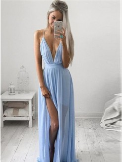 A-Line Spaghetti Straps Sleeveless Chiffon Ruched Floor-Length Dresses