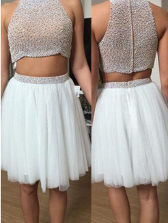 A-Line Sleeveless High Neck Tulle Beading Short/Mini Two Piece Dresses